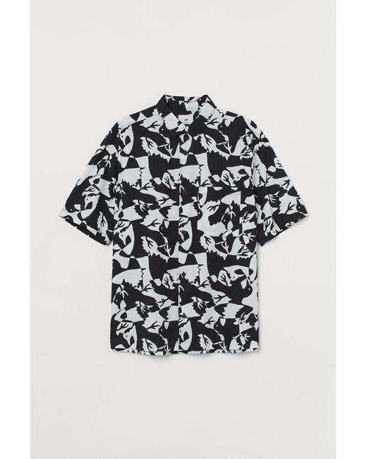 H&M Black Relaxed Fit Short-sleeve Shirt for men
