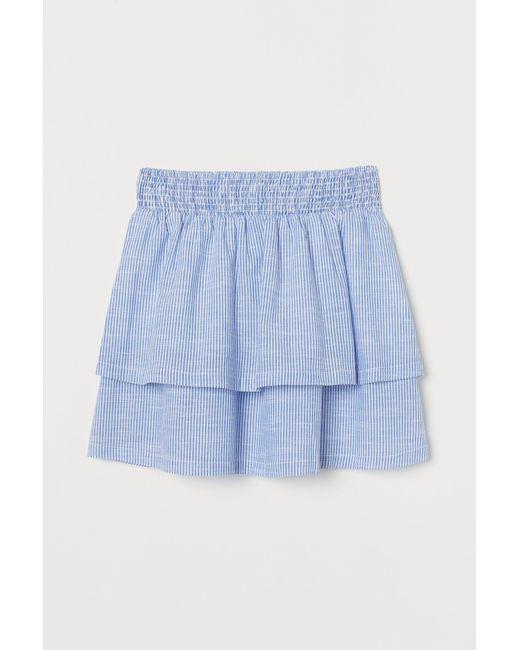 H&M Blue Volantjupe aus Baumwolle