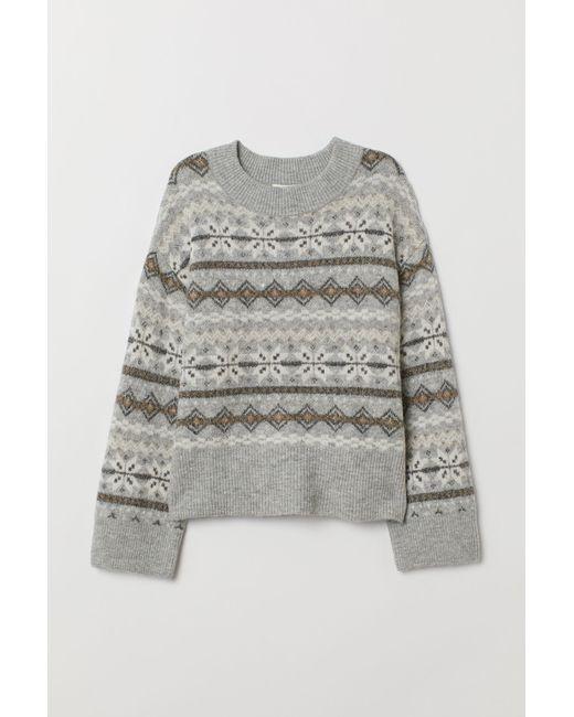 H&M Gray Pullover aus Jacquardstrick