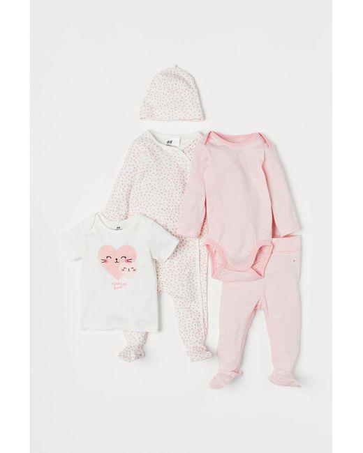 H&M - Pink 5-piece Jersey Set - Lyst