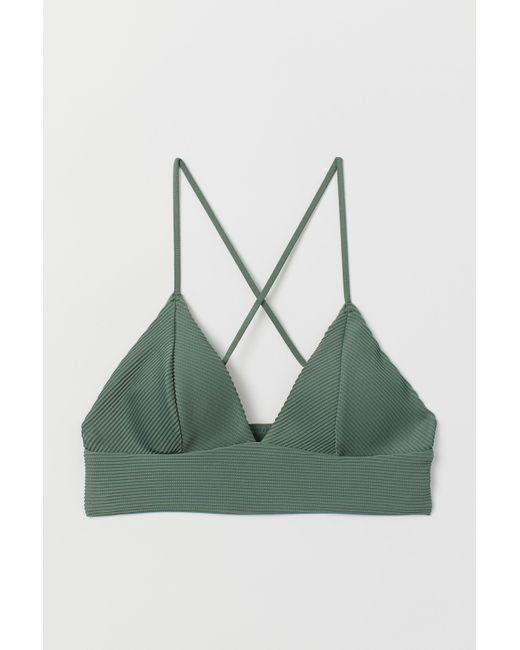 H&M Green Padded Triangle Bikini Top