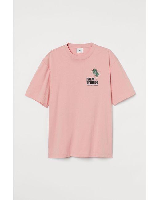H&M T-Shirt Relaxed Fit in Pink für Herren