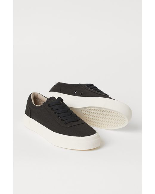 H\u0026M Canvas Trainers in Black for Men - Lyst