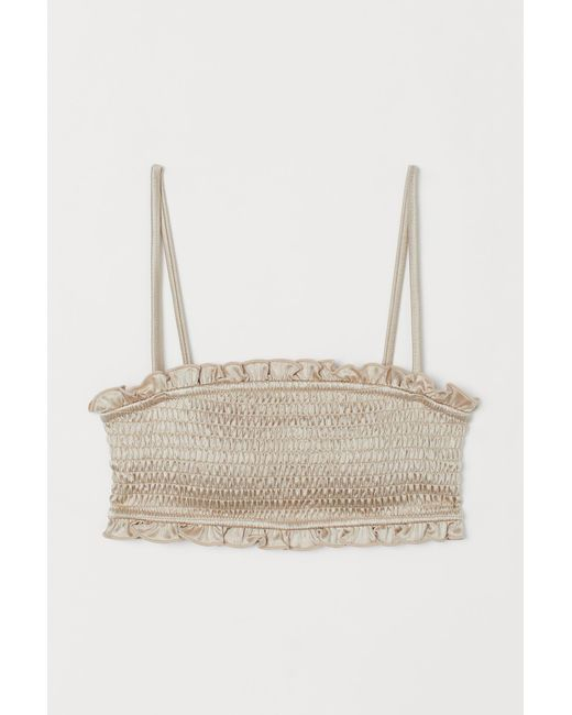 H&M Natural Wattiertes Bikinitop