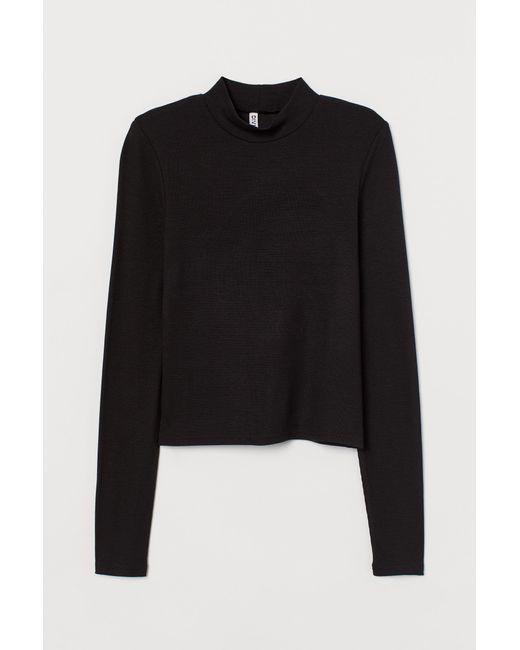 Top côtelé à col semi-montant H&M en coloris Black