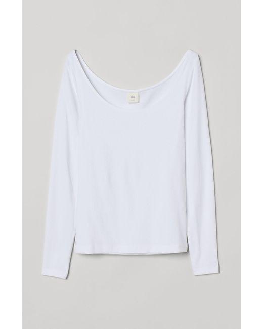 H&M White Geripptes Shirt