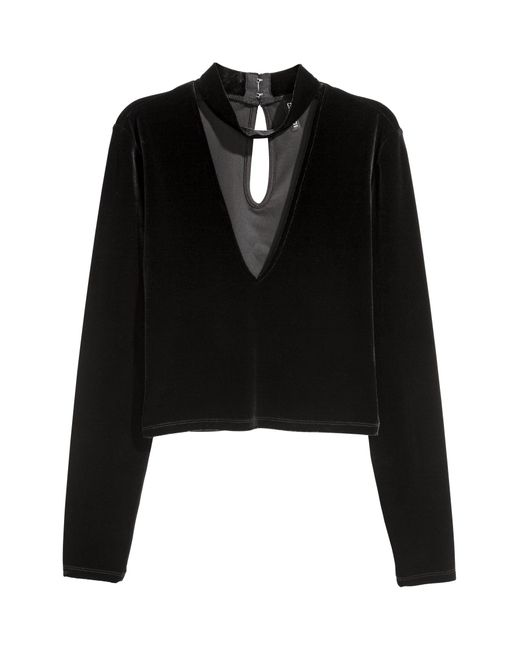 H&M Black Veloursshirt
