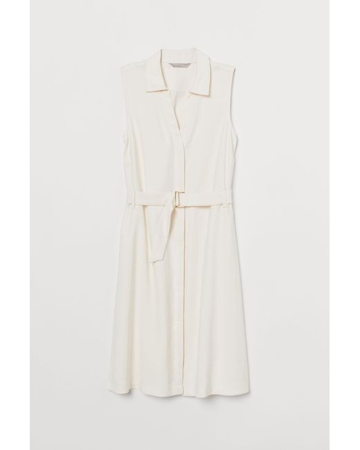 H&M White Kleid mit Gürtel