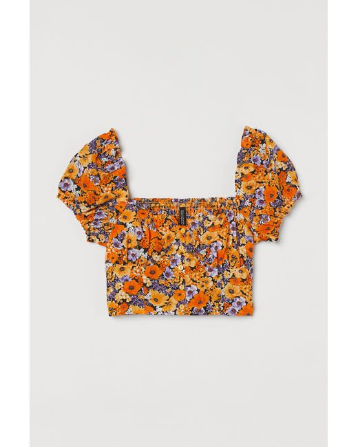 H&M Yellow Cropped Bluse