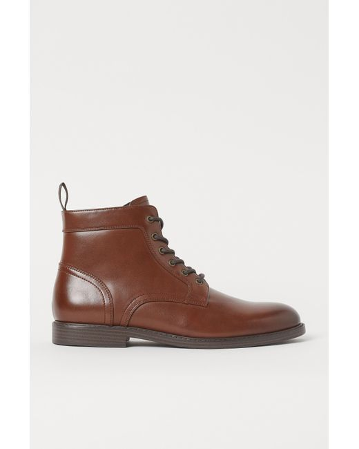 H&M Brown Zip-up Boots for men