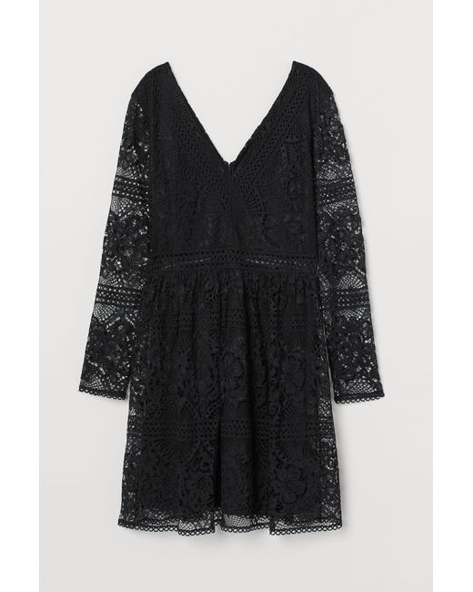 H&M Black Spitzenkleid mit V-Ausschnitt