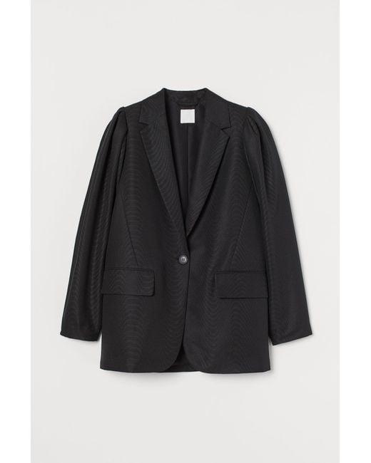 H&M Black Blazer mit Puffärmeln