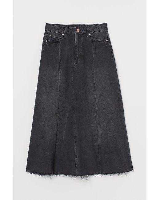 H&M Black Jeansrock in A-Linie