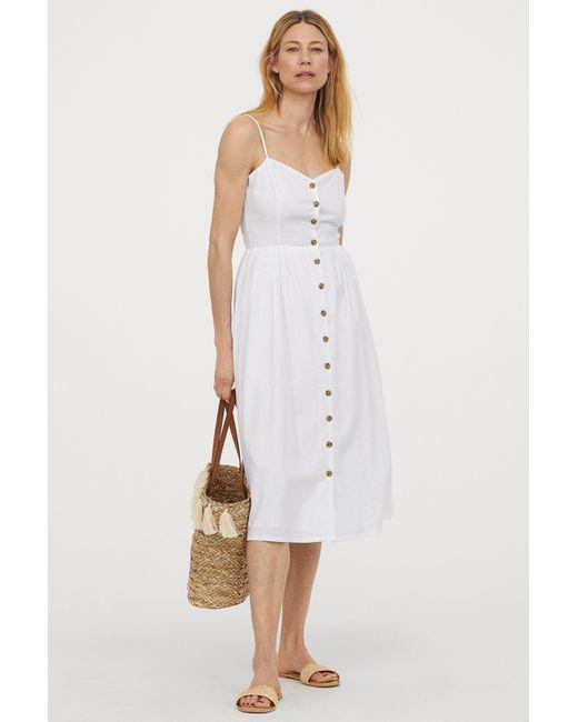 H&M White Linen-blend Dress