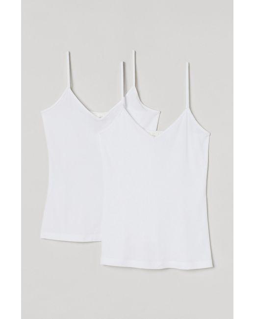 H&M White 2-pack V-neck Strappy Tops