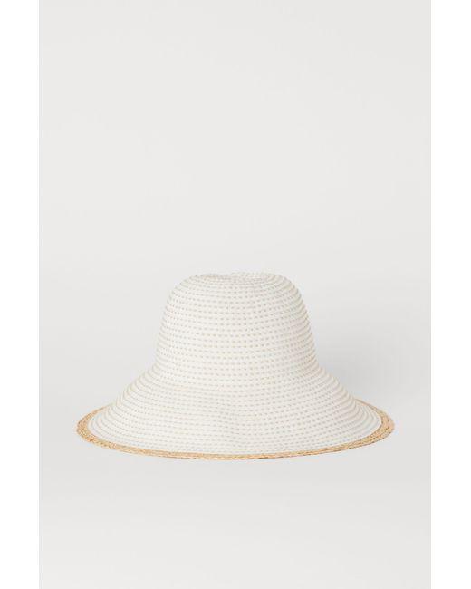 starke verpackung neue Produkte für Schnäppchen 2017 Damen Sonnenhut mit Bastkante in weiß