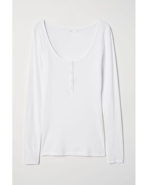 H&M White Henley Shirt