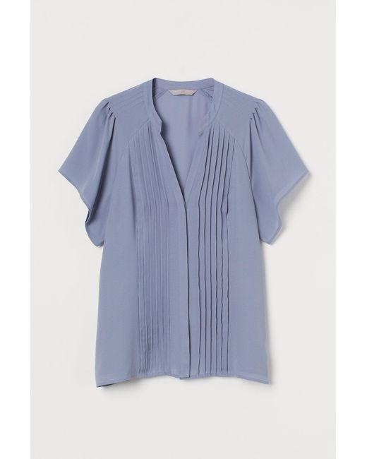 H&M Blue Pin-tuck Blouse