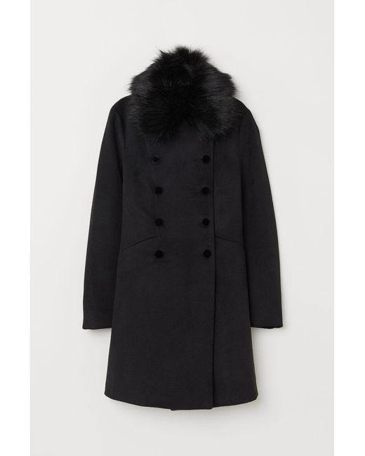 H&M Black Coat With A Faux Fur Collar