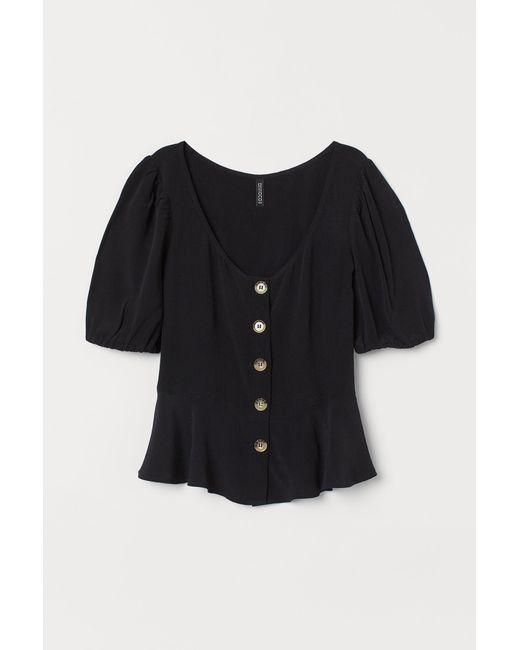 H&M Black Bluse mit Puffärmeln