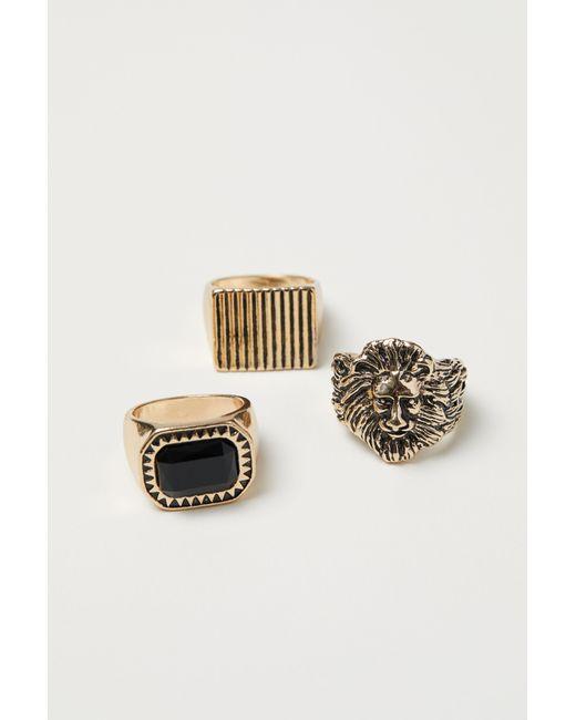 H&M Metallic 3-pack Rings for men
