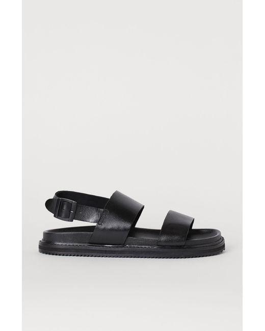 H&M Ledersandalen in Black für Herren