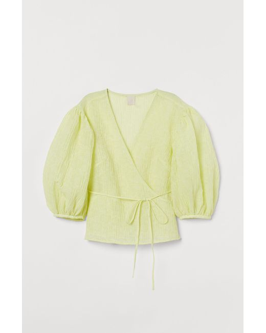 H&M Yellow Crinkled Wrapover Blouse