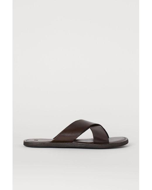 H&M Ledersandalen in Brown für Herren