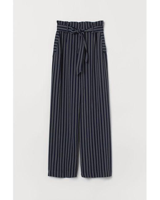 H&M Black Weite Hose mit Bindegürtel