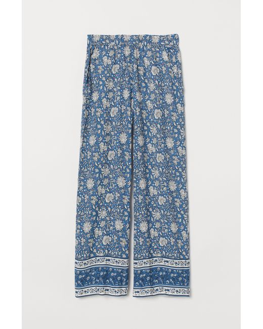 H&M Blue Wide-cut Pull-on Pants