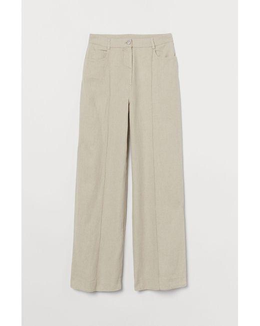H&M Natural Weite Hose aus Leinenmix