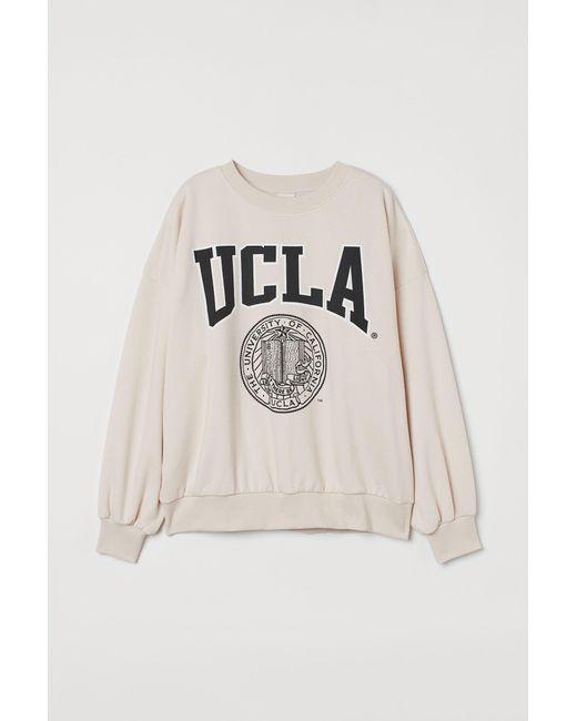 H&M Natural Sweatshirt mit Druck