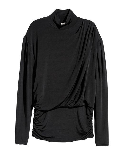 H&M Black Drapiertes Shirt
