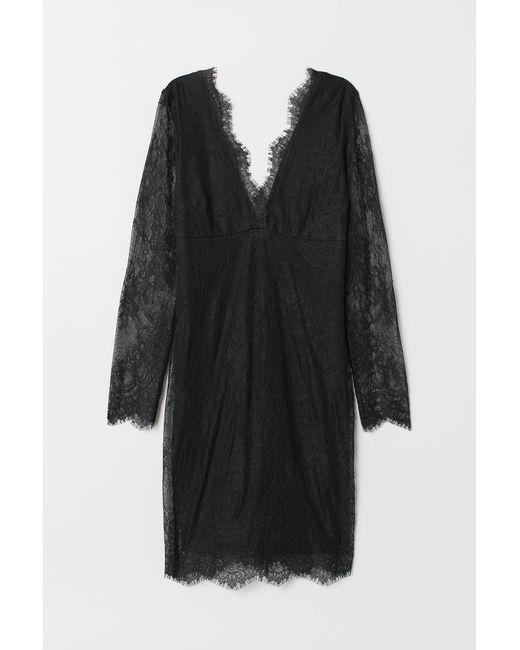 H M - Black Lace V-neck Dress - Lyst 93c920429