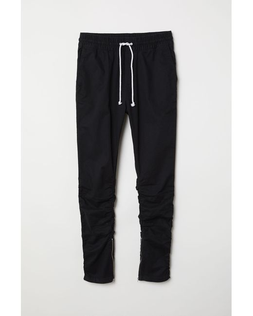 H&M Black Cotton Twill joggers for men