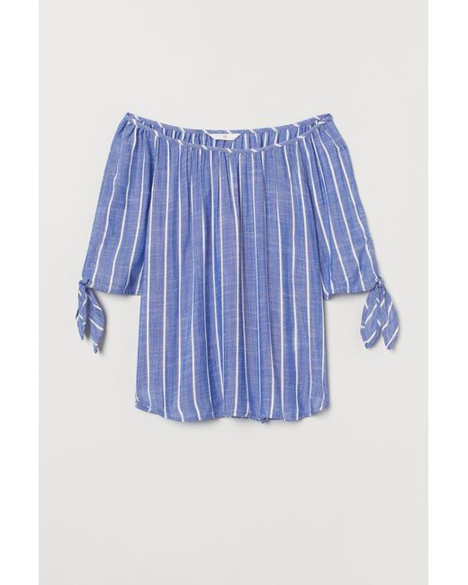 H&M Blue Tie-sleeve Blouse