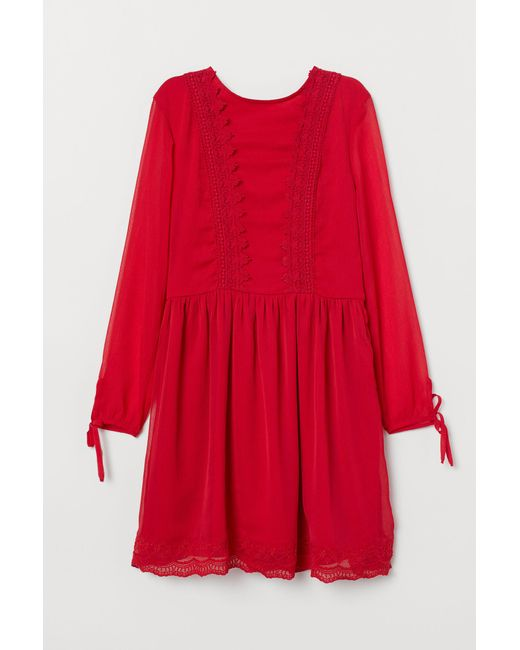Robe en mousseline H&M en coloris Red