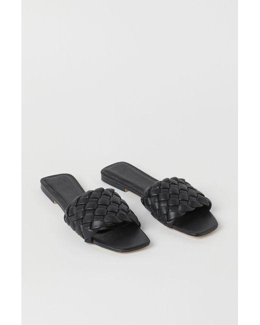 H&M Black Sandalen mit Flechtriemen