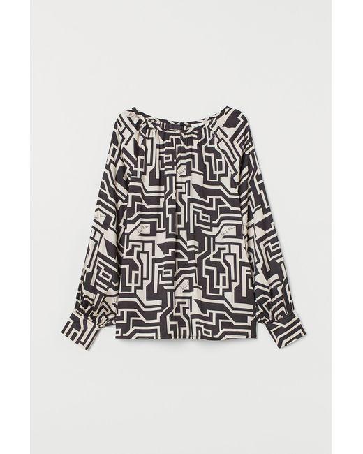 Blouse en satin à motif H&M en coloris Gray