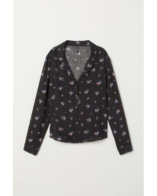 H&M Black Gemusterte Bluse