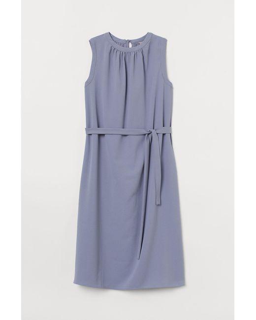 H&M Blue Kleid mit Bindebändern