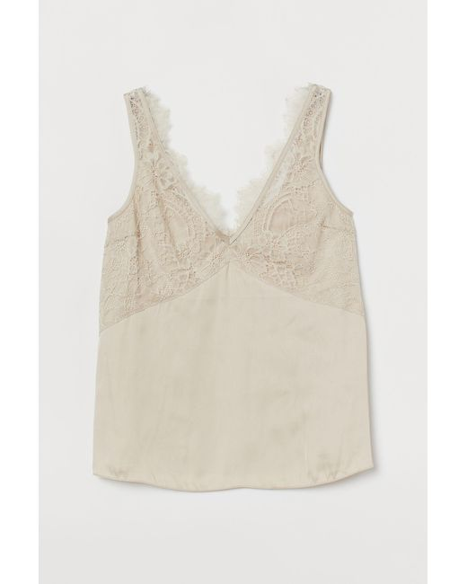 H&M Natural Lace-detail Satin Top