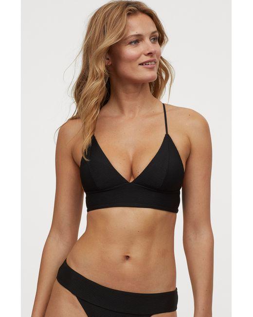 H&M Black Padded Triangle Bikini Top