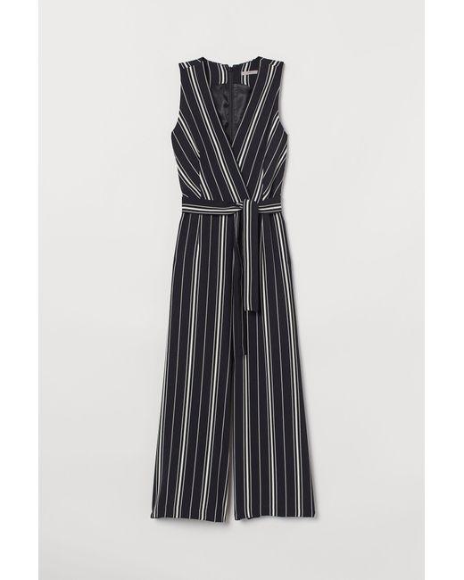H&M Black Jumpsuit With A Tie Belt