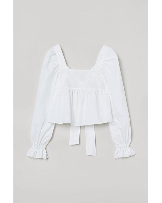 H&M White Bluse mit Rückenschleife