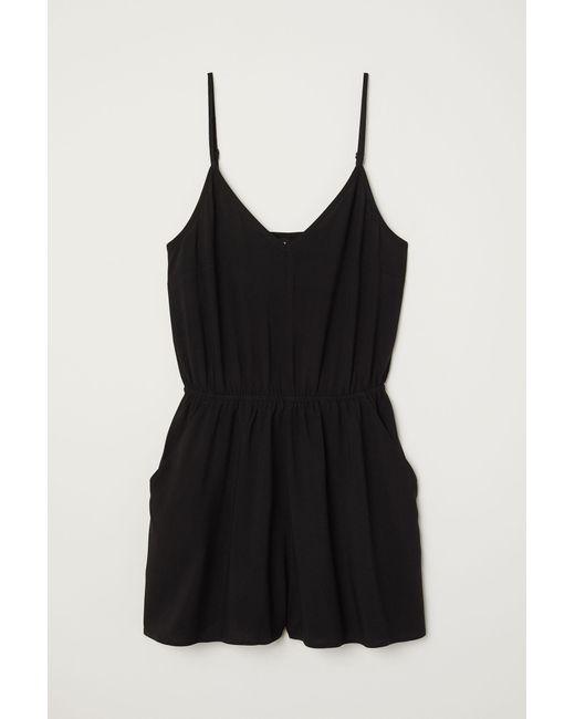 H&M Black Kurzer Jumpsuit