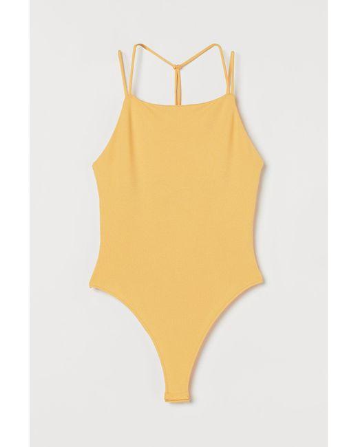 Body en jersey H&M en coloris Yellow