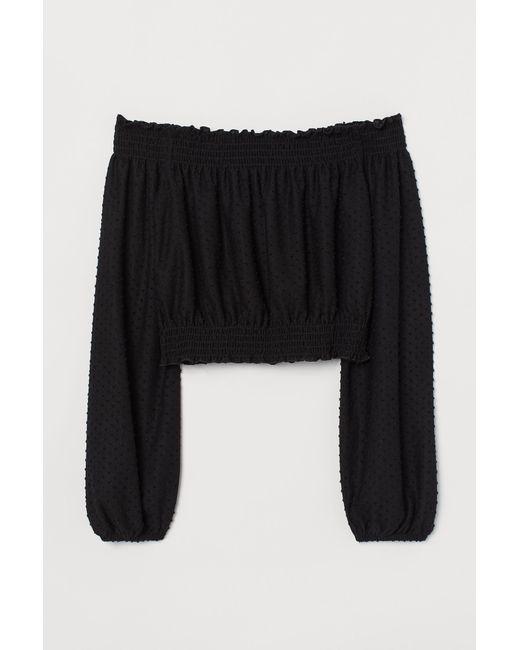 Top épaules nues H&M en coloris Black