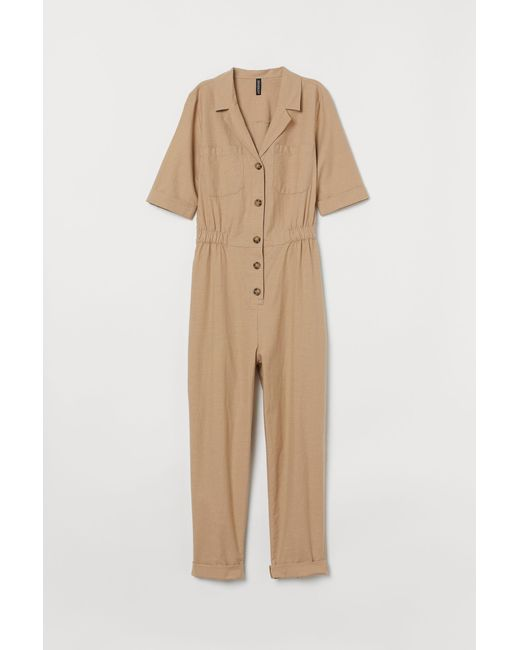 H&M Natural Boilersuit aus Baumwolle