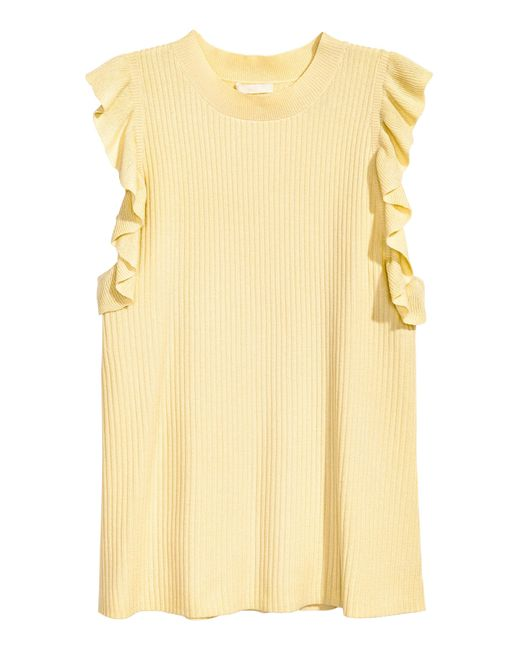 H&M Yellow H & M+ Geripptes Top